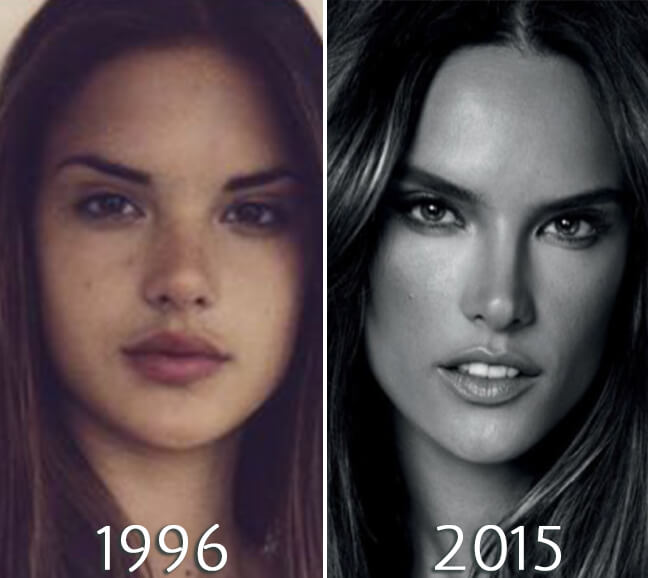 Alessandra Ambrosio before and after transformation